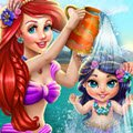 Ariel Baby Wash Games : Ariel has to bathe her adorable girl and needs your help to  ...