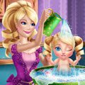Barbie Princess Baby Wash Games : Barbie has to take care of her cute daughter and needs your  ...